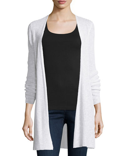 Organic Long Slim Ribbed Cardigan, Plus Size