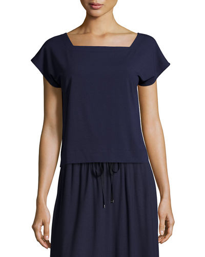 Eileen Fisher Short-Sleeve Square-Neck Box Top