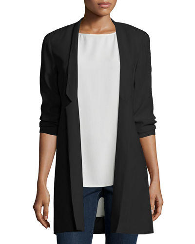 Structured Silk Notched-Collar Long Jacket, Black, Plus Size