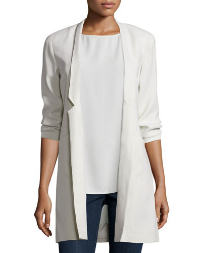 Structured Silk Notched-Collar Long Jacket, Plus Size