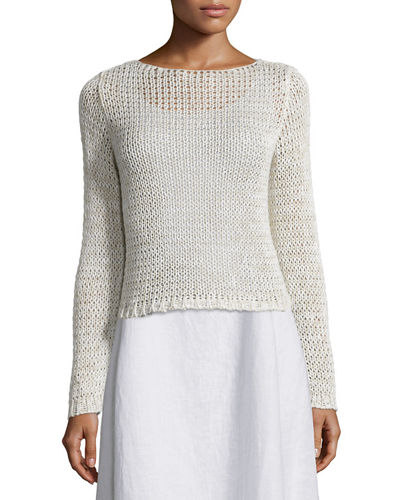 Eileen Fisher Long-Sleeve Crisp Cotton Crop Top