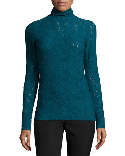 Long-Sleeve Lace Turtleneck Blouse, Tornado