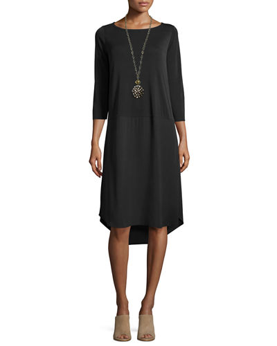 Eileen Fisher 3/4-Sleeve Silk Jersey Dress, Petite