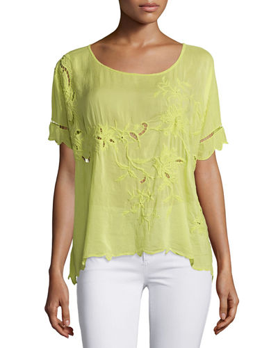 Johnny Was Collection Flo Short-Sleeve Embroidered Top, Petite