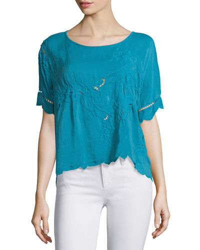 Flo Short-Sleeve Embroidered Top, Plus Size