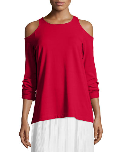 Cold-Shoulder Long-Sleeve Top, Petite