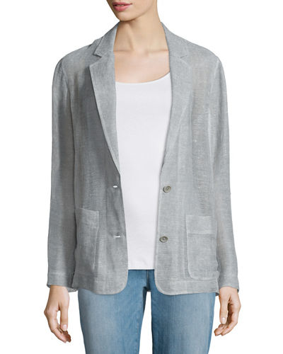 Eileen Fisher Notch-Collar Two-Button Linen Mesh Blazer, Plus