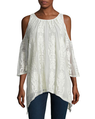 Risette Cold-Shoulder Bouquet-Embroidered Top