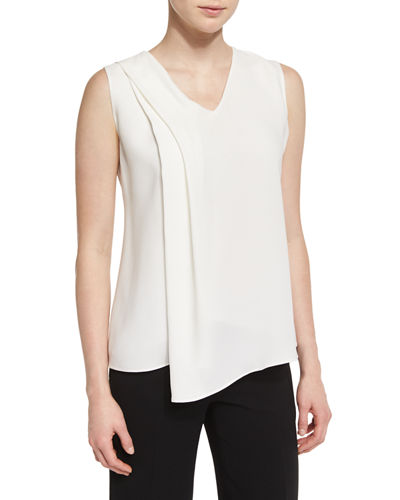 Cece Pleated Sleeveless Blouse