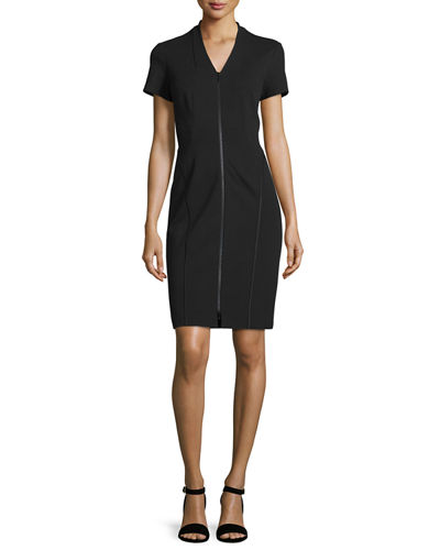 Lafayette 148 New York Zip-Front Short-Sleeve Sheath Dress