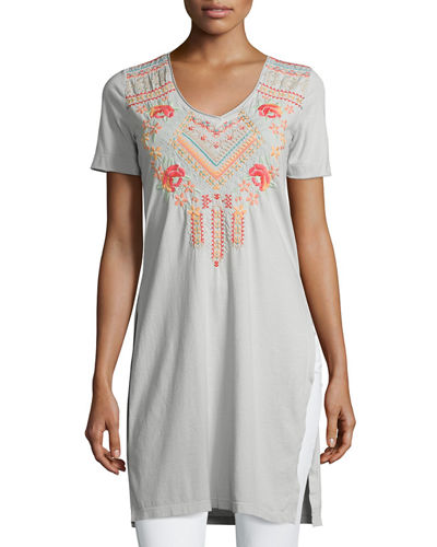 Sonya Side-Slit Embroidered Cotton Tunic