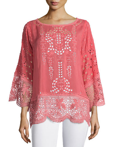 Dange Embroidered-Eyelet Tunic, Plus Size