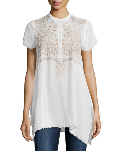 Johnny Was CollectionBritta Button-Front Embroidered Tunic