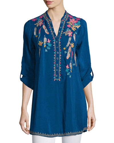Victoria Button-Front Embroidered Blouse, Plus Size