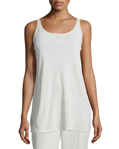 Eileen Fisher Sleeveless Long Silk Jersey Tank, Plus