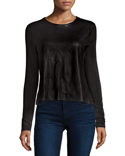 Leather-Front French Terry Top