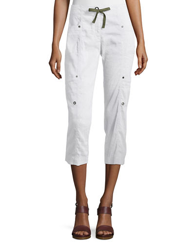 Drawstring Cropped Cargo Pants, White, Petite