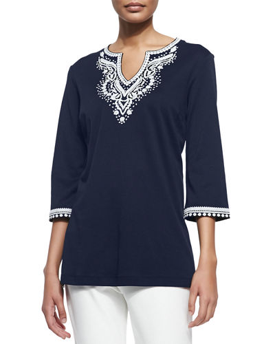 Joan Vass 3/4-Sleeve Embroidered Tunic, Petite