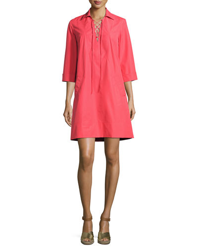 Dani 3/4-Sleeve Lace-Up Shift Dress
