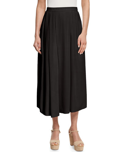 Wide-Leg Pleated Silk Ankle Pants