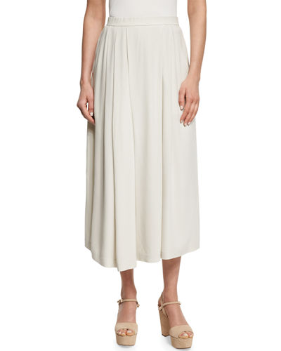 Wide-Leg Pleated Ankle Pants