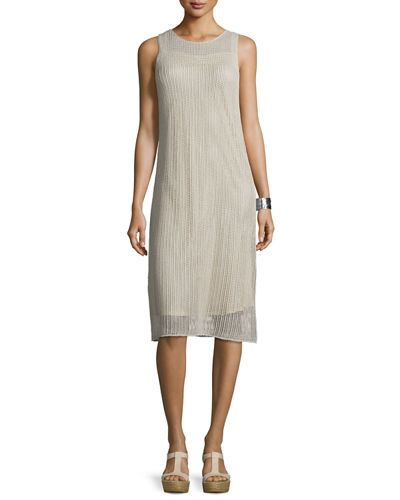 Sleeveless Textured-Linen Dress w/ Slip