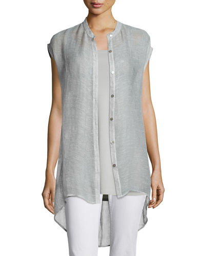 Sleeveless Button-Front Mesh Shirt, Silver, Plus Size