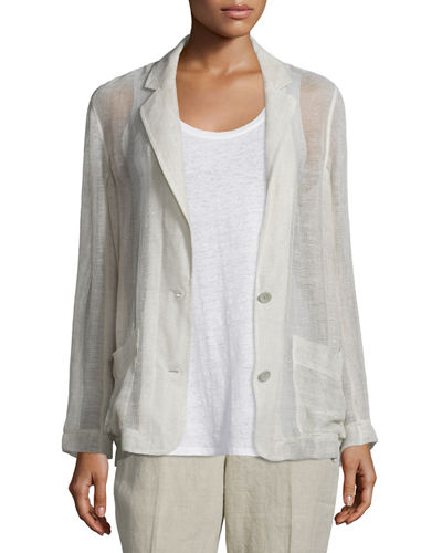 Eileen Fisher Notch-Collar Two-Button Linen Mesh Blazer, Petite