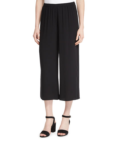 Eileen Fisher Wide-Leg Georgette Cropped Pants, Petite