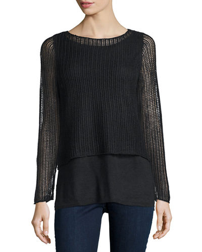 Long-Sleeve Layered Linen Top W/ Cami, Black, Plus Size