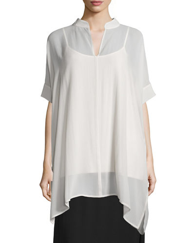 Short-Sleeve Sheer Boxy Tunic