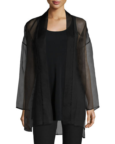 Long Washed Silk Organza Jacket, Plus Size