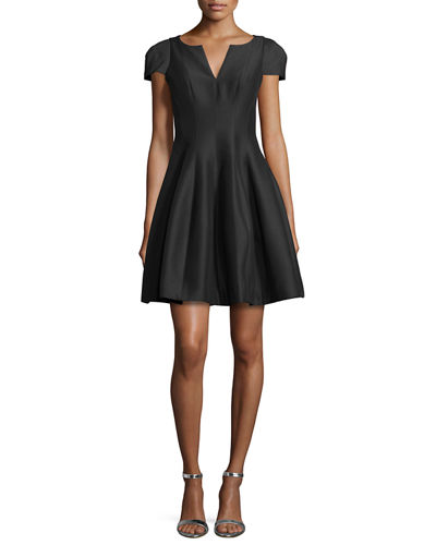 Halston Heritage Tulip-Skirt Split-Neck Party Dress