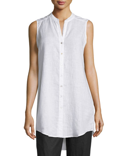 Eileen Fisher Sleeveless Organic Linen Button-Front Tunic, Petite