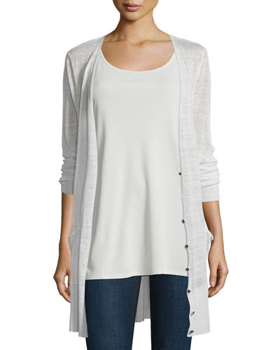 V-Neck Button-Front Long Sheer Hemp Cardigan