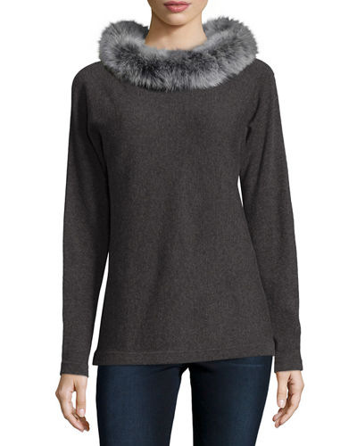 Cashmere Dolman-Sleeve Sweater w/ Fox Fur Collar