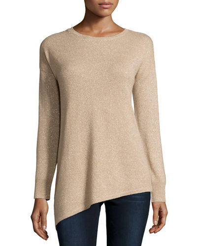 Metallic Asymmetric Cashmere Sweater