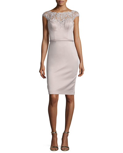 Beaded Cap-Sleeve Satin Cocktail Dress