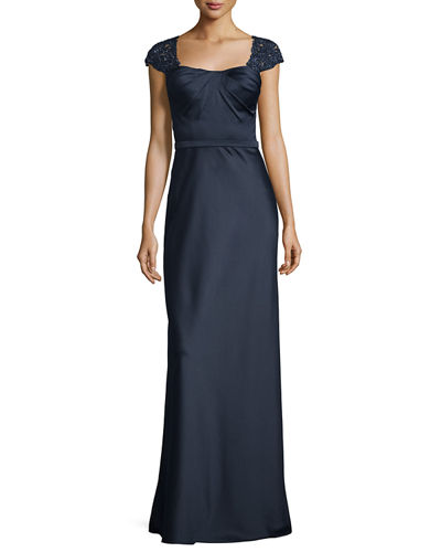 Embellished Cap-Sleeve Satin Gown, Navy