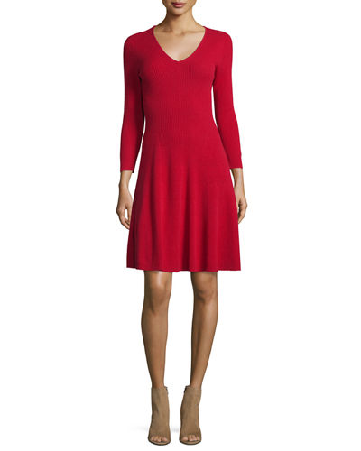 Ribbed Cashmere Fit-&-Flare Dress