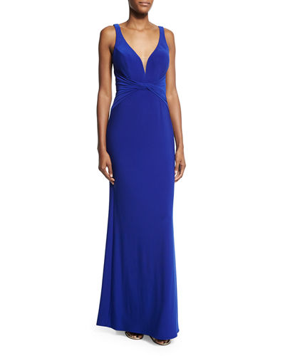Sleeveless V-Neck Ruched Gown