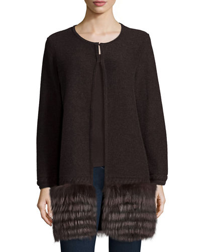 Neiman Marcus Cashmere Collection Long Open Cashmere Cardigan