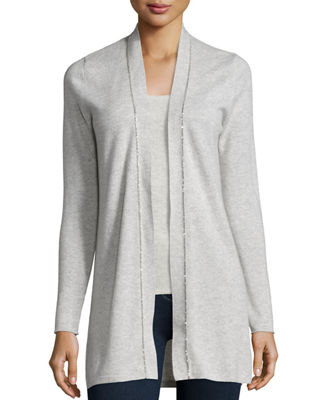 Long Chain-Trimmed Open-Front Cashmere Cardigan