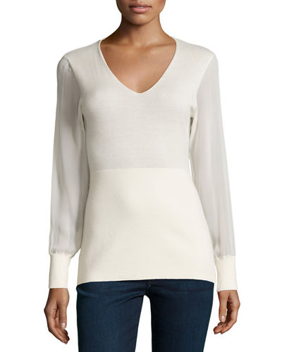 Neiman Marcus Cashmere Collection Cashmere Sheer-Sleeve V-Neck