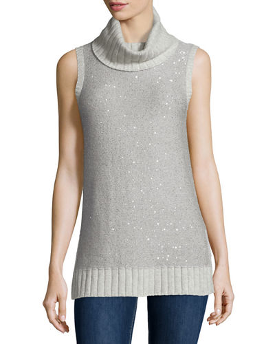 Neiman Marcus Cashmere Collection Sleeveless Sequin Cashmere