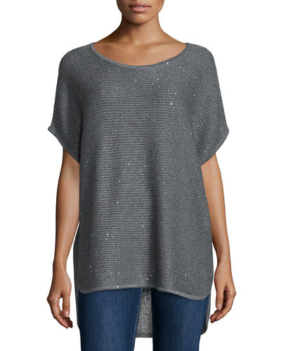 Neiman Marcus Cashmere Collection Horizontal-Ribbed Sequin