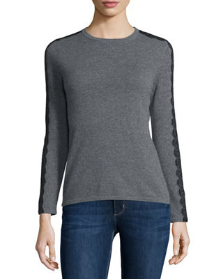 Long-Sleeve Crewneck Cashmere Sweater w/ Lace Trim