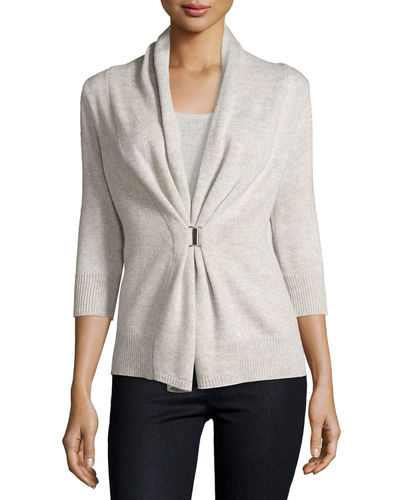 3/4-Sleeve Cashmere & Lurex® Half-Sleeve Buckle Cardigan