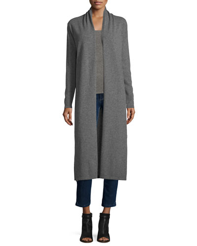 Long Open-Front Cashmere Duster Cardigan