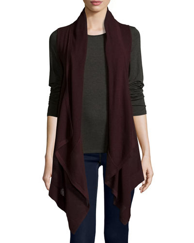 Draped Superfine Mesh Cashmere Hooded Vest